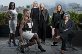 """From left: Uzo Aduba, Laverne Cox, Taylor Schilling, Piper Kerman, Natasha Lyonne and Jenji Kohan of the Netflix series """"Orange Is the New Black,"""" in New York, May 15, 2014. The comedy-drama set in a women's penitentiary and adapted from Kerman's memoir about her year at a federal correctional facility, has become an improbable cultural phenomenon since it was introduced on Netflix in July. (Therese + Joel/The New York Times) -- PHOTO MOVED IN ADVANCE AND NOT FOR USE - ONLINE OR IN PRINT - BEFORE JUNE 01, 2014."""