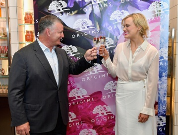 Origins And Taylor Schilling Celebrate Unveiling Of Discovery Retail Concept At Harvard Square Store In Cambridge, MA